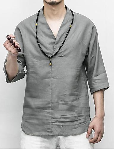 אחיד צווארון V רזה סגנון סיני פשתן, טישרט - בגדי ריקוד גברים