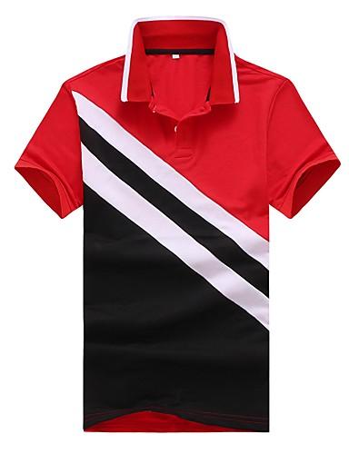 קולור בלוק / משובץ / משובץ דמקה צווארון חולצה רזה סגנון רחוב עבודה כותנה, Polo - בגדי ריקוד גברים טלאים / שרוולים קצרים