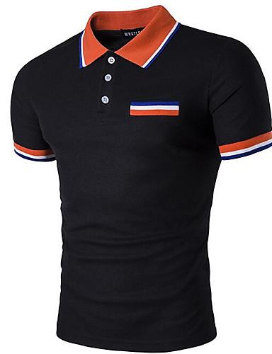 אחיד צווארון חולצה סגנון רחוב Polo - בגדי ריקוד גברים / שרוולים קצרים