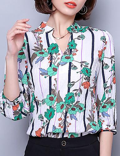 Koszula Damskie Wyjściowe W serek Szczupła - Kwiaty
