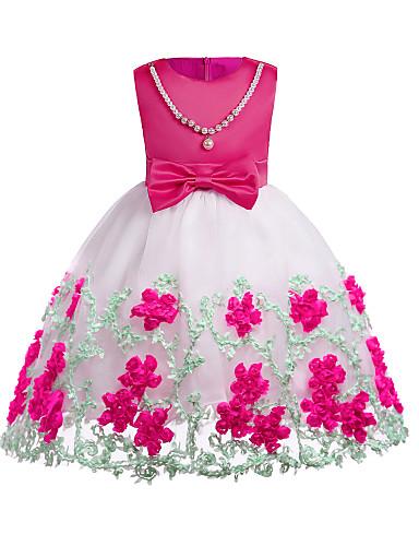 06b10da9bb7b Børn Pige Simple Daglig   I-byen-tøj Ensfarvet   Farveblok Perler   Sløjfer    Blondér Uden ærmer Bomuld   Polyester Kjole Gul   Sødt   Pære