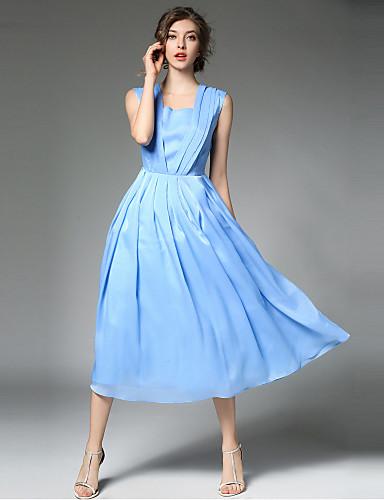 צווארון מרובע קפלים, צבע אחיד - שמלה סווינג בגדי ריקוד נשים
