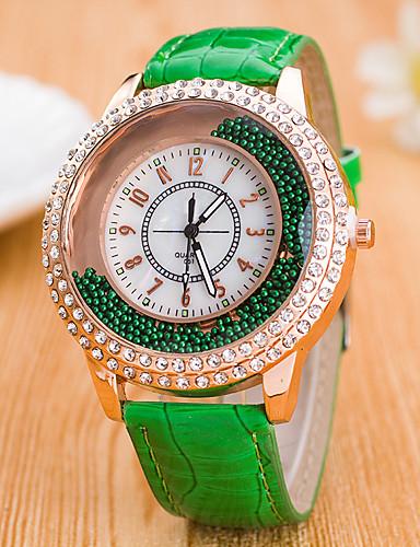 בגדי ריקוד נשים שעון קריסטל צף קווארץ שעונים יום יומיים עור להקה אנלוגי אופנתי צבעוני שחור / לבן / כחול - אדום ירוק כחול