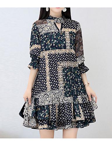 דפוס, פרחוני - שמלה נדן בוהו בגדי ריקוד נשים