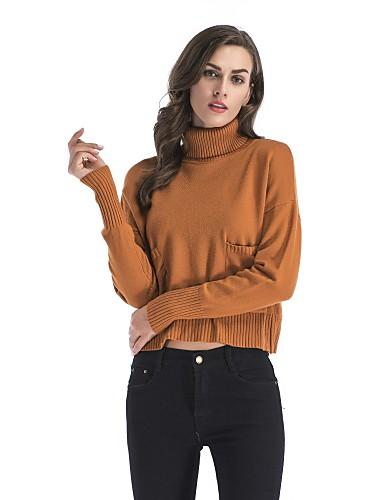 כותנה צבע אחיד - סוודר שרוול ארוך גולף חגים בגדי ריקוד נשים