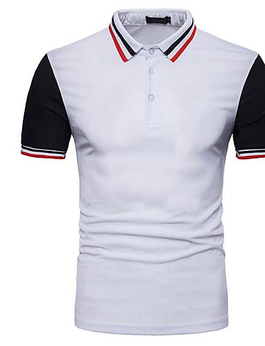 קולור בלוק רזה Polo - בגדי ריקוד גברים שחור ולבן / שרוולים קצרים