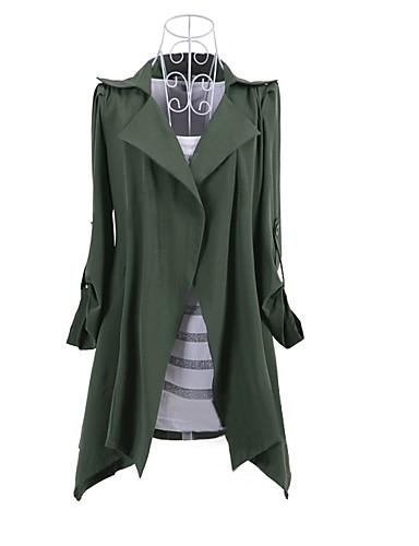 رخيصةأون أفضل البائعين-قطن نسائي أسود أحمر أخضر داكن L XL XXL ترانش كوت طويلة لون سادة قبعة القميص