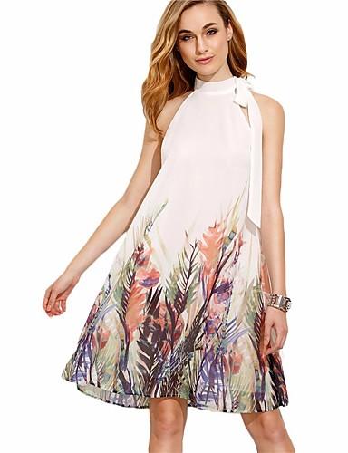 לבן מעל הברך דפוס, פרחוני - שמלה משוחרר בגדי ריקוד נשים