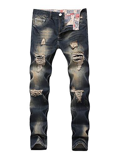 Męskie Rozmiar plus Bawełna Szczupła Typu Chino Spodnie Jendolity kolor