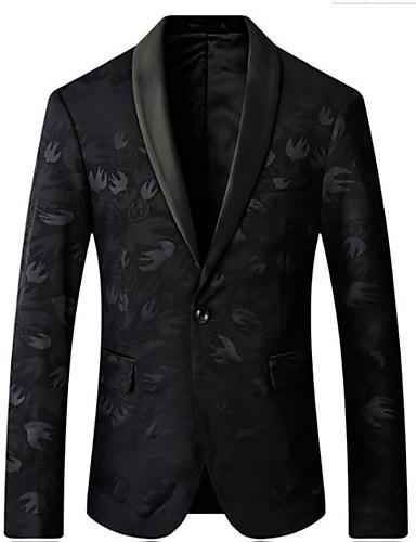 גיאומטרי רזה בלייזר - בגדי ריקוד גברים, דפוס / שרוול ארוך