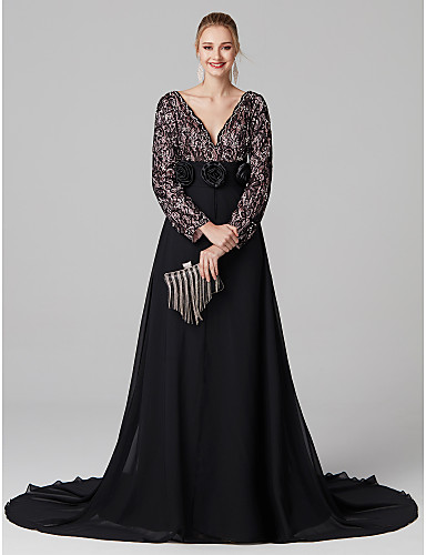 A-Line Plunging Neck Court Train Chiffon / Sheer Lace Prom / Formal Evening Dress with Beading / Flower by TS Couture®