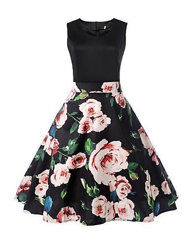 צווארון V דפוס, פרחוני - שמלה גזרת A בגדי ריקוד נשים