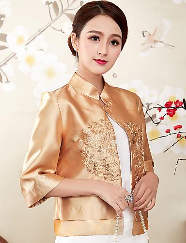 אחיד עומד סגנון סיני חולצה - בגדי ריקוד נשים רקום