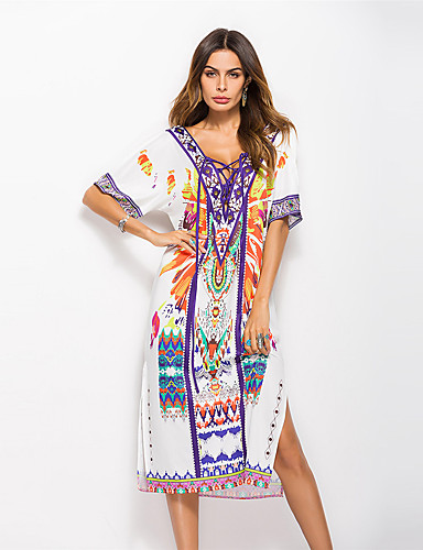 voordelige Maxi-jurken-Dames Katoen Ruimvallend Ruimvallend Jurk - Bloemen, Geplooid Maxi Wit / Sexy