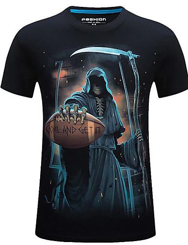 e5c784916195 Ανδρικά T-shirt Κομψό στυλ street Νεκροκεφαλές Στρογγυλή Λαιμόκοψη Στάμπα  Μαύρο XXXXL   Κοντομάνικο   Καλοκαίρι