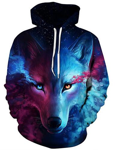 cheap $20-$25-Men's Plus Size Active Long Sleeve Loose Hoodie & Sweatshirt - 3D Print Wolf, Modern Style Hooded Blue XXL / Fall / Winter