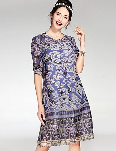 עד הברך גיאומטרי - שמלה ישרה בסיסי בגדי ריקוד נשים