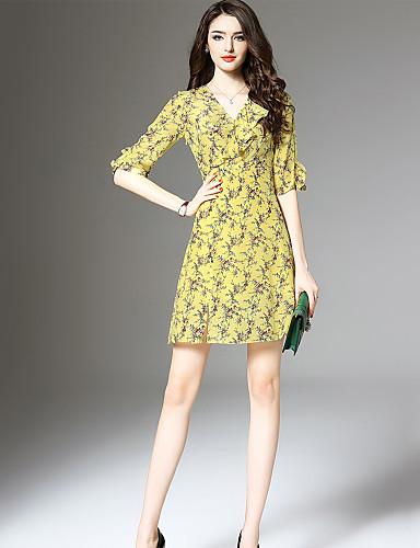 355481e79c9d3 Kadın's Dışarı Çıkma Sokak Şıklığı İnce Şifon Elbise - Çiçekli, Fırfırlı V  Yaka Diz üstü
