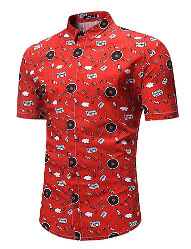 Rozmiar plus Koszula Męskie Podstawowy / Wzornictwo chińskie, Nadruk Bawełna Geometryczny / Krótki rękaw