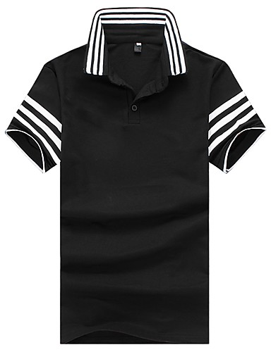 פסים קולור בלוק צווארון חולצה רזה עבודה Polo - בגדי ריקוד גברים דפוס טלאים כותנה