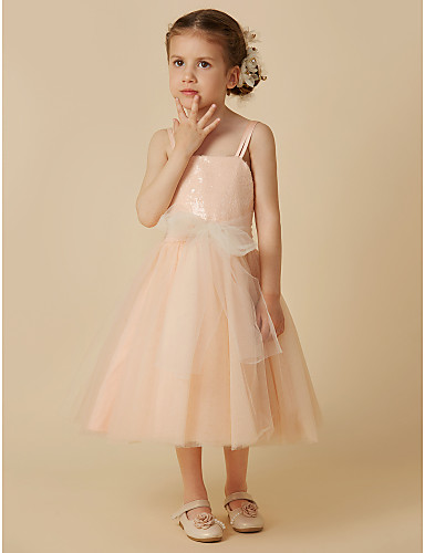 A-Line Tea Length Flower Girl Dress - Tulle Sequined Sleeveless Spaghetti Straps with Sequin Bow(s) Sash / Ribbon by LAN TING BRIDE®