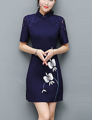 9f384427b47 Women s Plus Size Party Going out Street chic Chinoiserie Slim Sheath Dress  - Color Block Lace Split Patchwork Stand Summer Red Navy Blue Wine XL XXL  XXXL