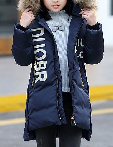 Odzież puchowa / pikowana Bawełna Poliester Dla dziewczynek Jendolity kolor Długi rękaw Na co dzień Navy Blue