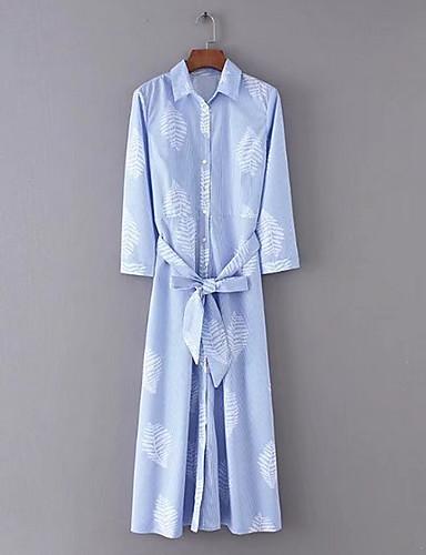 女性用 ストリートファッション スリム パンツ - ストライプ ブルー / マキシ / シャツカラー