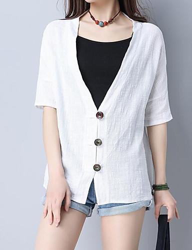 T-shirt Damskie Moda miejska Wyjściowe W serek Solidne kolory