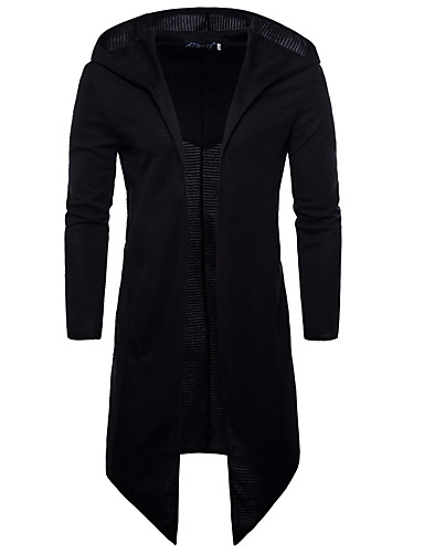 cheap Basic Hoodie Sweatshirts-Men's Plus Size Basic / Street chic Long Sleeve Long Hoodie - Solid Colored Hooded Black XXXL / Spring