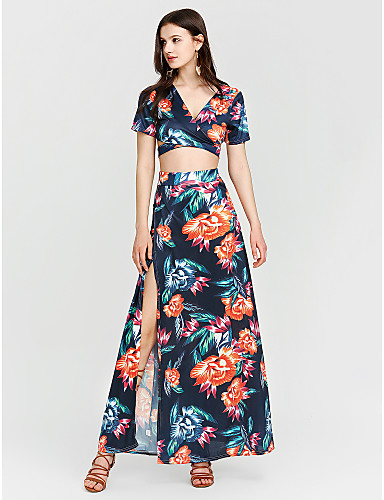 Mulheres Tubinho Bainha Vestido Floral Decote V Longo