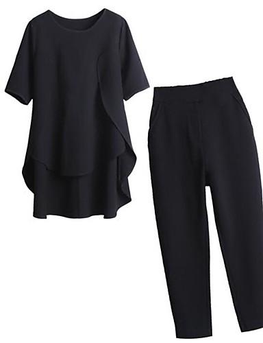 Per donna Ufficio Moda città / sofisticato Taglie forti Largo Lungo Set Tinta unita Pantalone / Estate