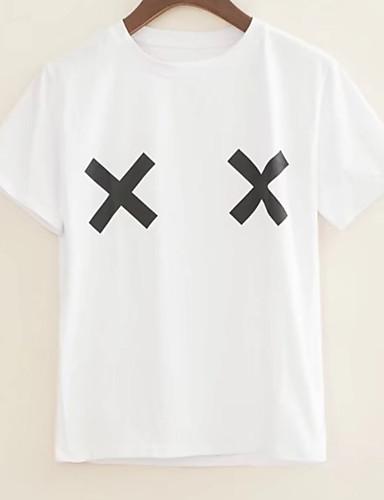 T-shirt Damskie Podstawowy, Nadruk Bawełna Urlop Geometryczny / Lato