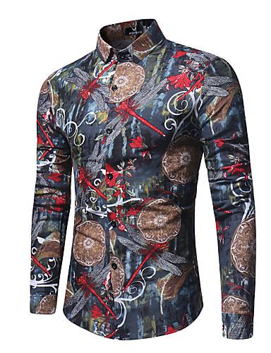 Puszysta Koszula Męskie Moda miejska / Wzornictwo chińskie, Nadruk Szczupła - Kwiaty / Kolorowy blok / Długi rękaw