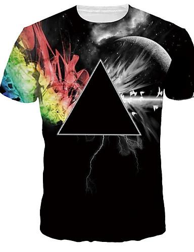 abordables Camisetas y Tops de Hombre-Hombre Básico Estampado - Algodón Camiseta, Escote Redondo Geométrico / Arco iris Negro XXL / Manga Corta