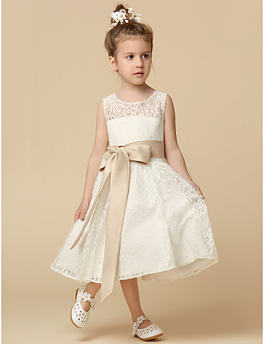 A-Line Tea Length Flower Girl Dress - Lace Sleeveless Jewel Neck with Lace / Sash / Ribbon / Pleats by LAN TING Express