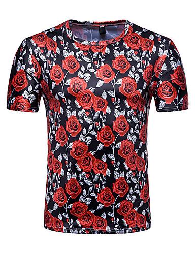 T-shirt Męskie Aktywny / Podstawowy, Nadruk Bawełna Okrągły dekolt Szczupła - Kwiaty / Kolorowy blok / Krótki rękaw