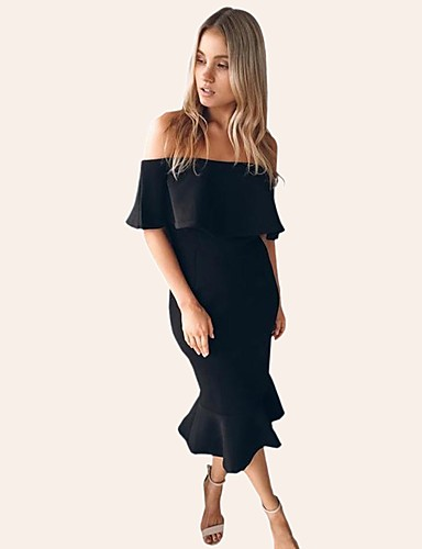 8f68964baec8 Women's Off Shoulder Party Holiday Street chic Slim Bodycon Trumpet /  Mermaid Dress - Solid Colored Ruffle Boat Neck Spring Cotton Black Pink  Gray M L XL ...