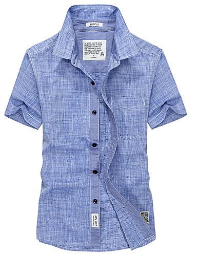 Koszula Męskie Podstawowy Jendolity kolor / Krótki rękaw