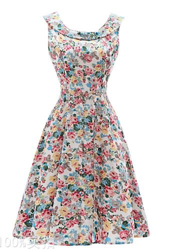 Damskie Vintage / Moda miejska Szczupła Swing Sukienka - Kwiaty Midi / Lato