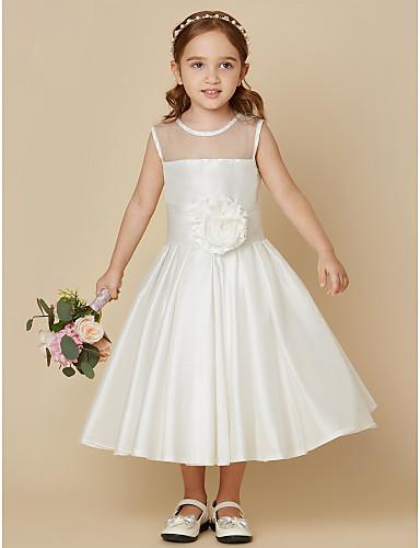 A-linje Knelang Blomsterpikekjole - Taft Ermeløs Besmykket med Belte / bånd Blomst av LAN TING BRIDE®