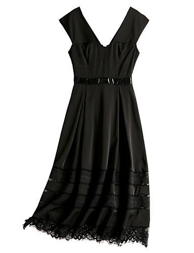 Damskie Little Black Sukienka - Jendolity kolor Z odsłoniętymi ramionami Midi