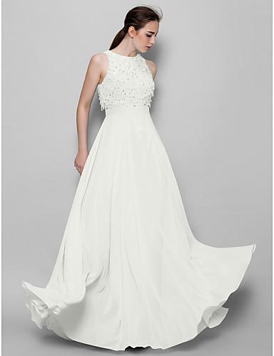 זול שמלות שושבינות ארוכות-גזרת A עם תכשיטים עד הריצפה שיפון שמלה לשושבינה  עם חרוזים / נצנצים על ידי LAN TING BRIDE® / נוצץ וזוהר
