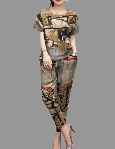abordables Hauts pour Femmes-Femme Mince Tee-shirt Taille Haute Pantalon / Printemps