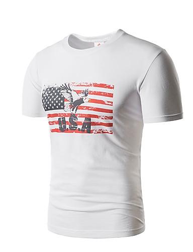 T-shirt Męskie Podstawowy Bawełna Okrągły dekolt Zwierzę / Krótki rękaw