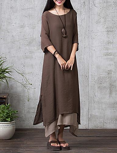 Kadın's Salaş Elbise - Solid Maksi