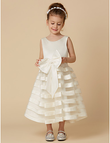 b073c76a7b0 A-Line Tea Length Flower Girl Dress - Satin   Tulle Sleeveless Jewel ...