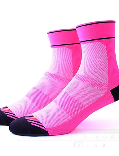 cheap Cycling Clothing-Compression Socks Sport Socks / Athletic Socks Cycling Socks Women's Cycling / Bike Bike / Cycling Quick Dry Anatomic Design Breathability 1 Pair Stripes Patchwork Nylon Spandex Elastic Black Fuchsia