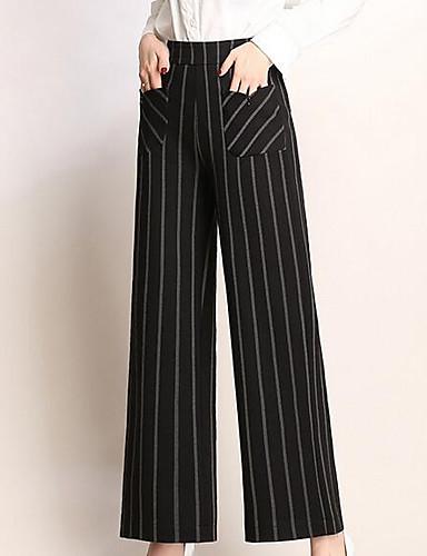 abordables Pantalons Femme-Femme Basique Grandes Tailles Quotidien Mince Ample Pantalon - Rayé Taille haute Coton Blanche Rouge Arc-en-ciel XXL XXXL XXXXL