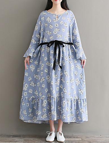 Damskie Moda miejska Sukienka swingowa Sukienka - Kwiaty Midi